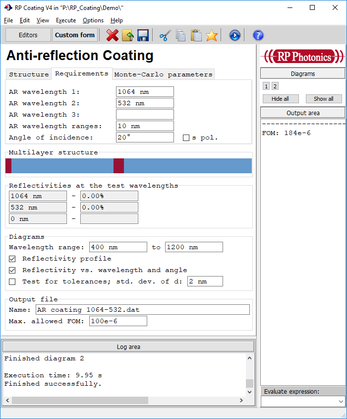 form for designing anti-reflection coatings