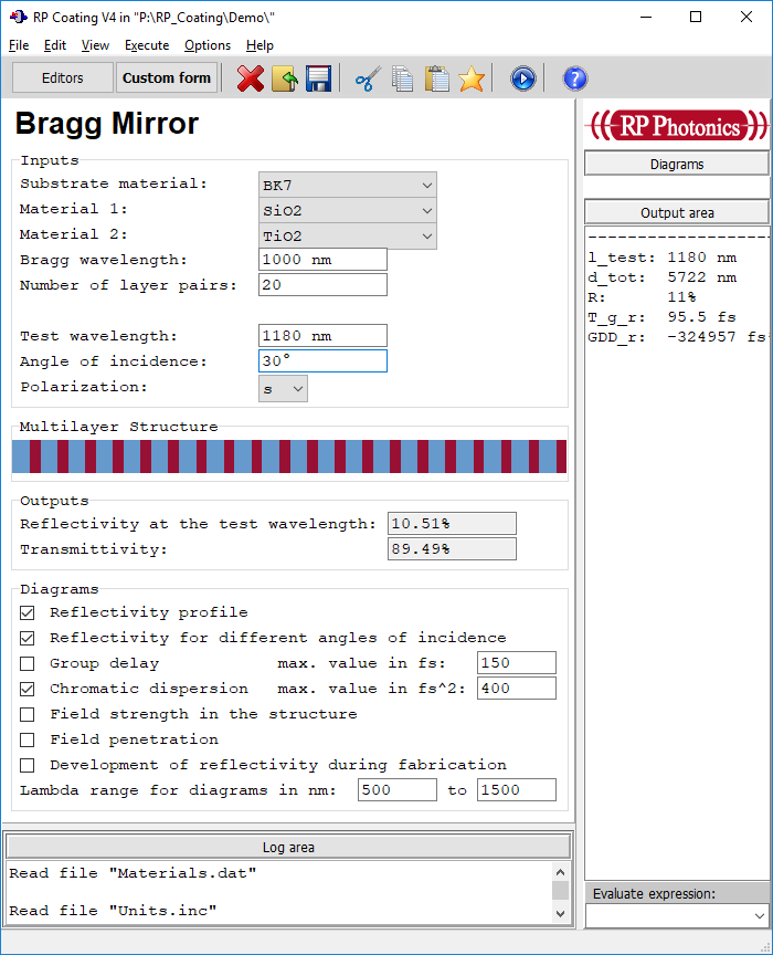 form for Bragg mirror analysis