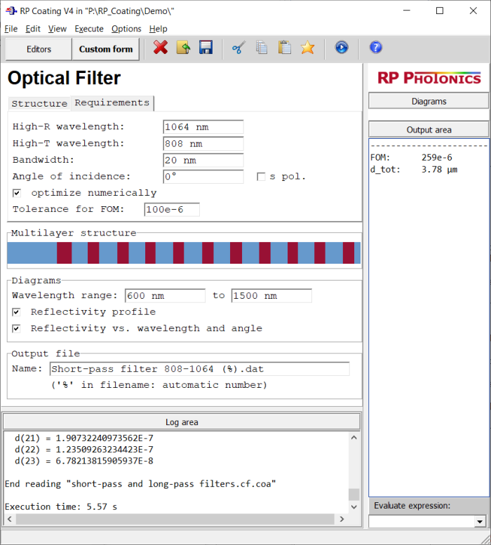 form for the design of optical filters