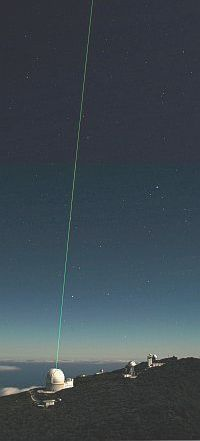 laser beam sent out of the William Herschel Telescope