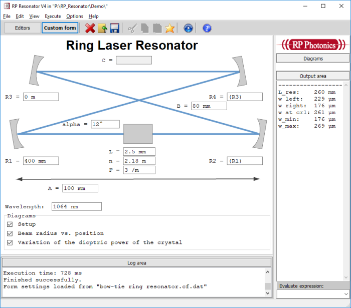 form for ring resonator