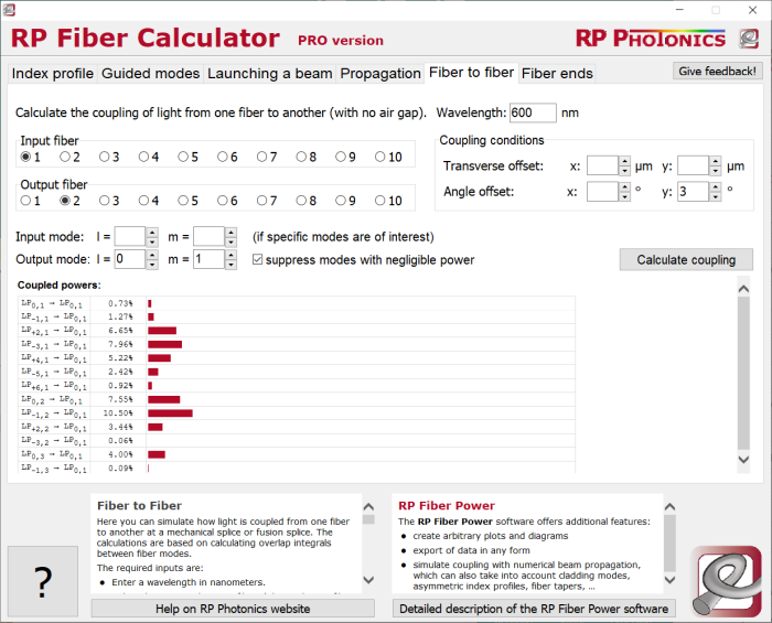 RP Fiber Calculator, coupling between fibers