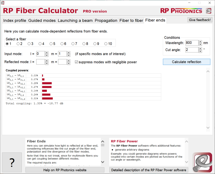 RP Fiber Calculator, reflections at fiber ends