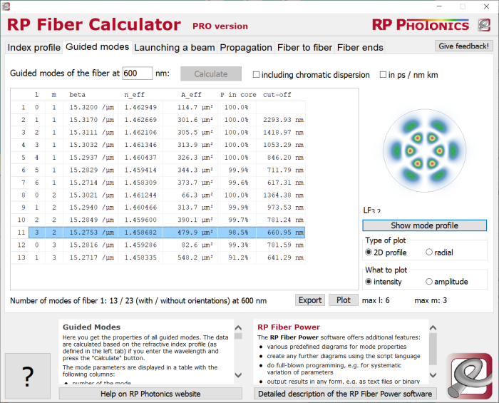 RP Fiber Calculator, mode properties
