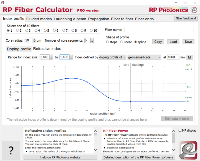 RP Fiber Calculator, entering refractive index profiles