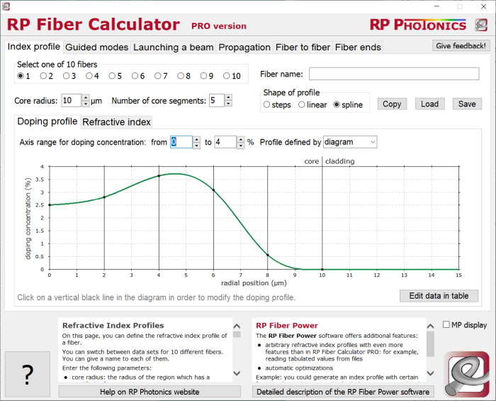 RP Fiber Calculator, displaying mode properties