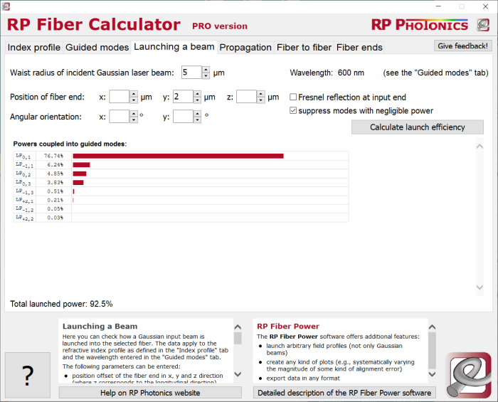 RP Fiber Calculator, launching a beam
