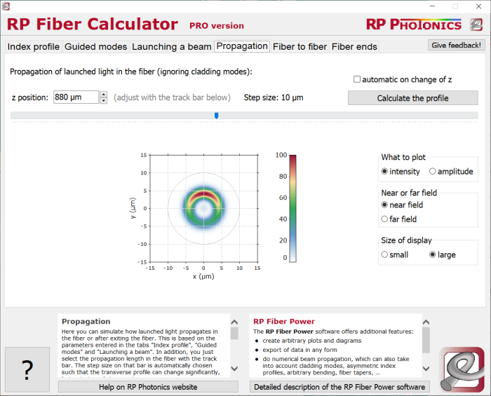 RP Fiber Calculator, light propagation