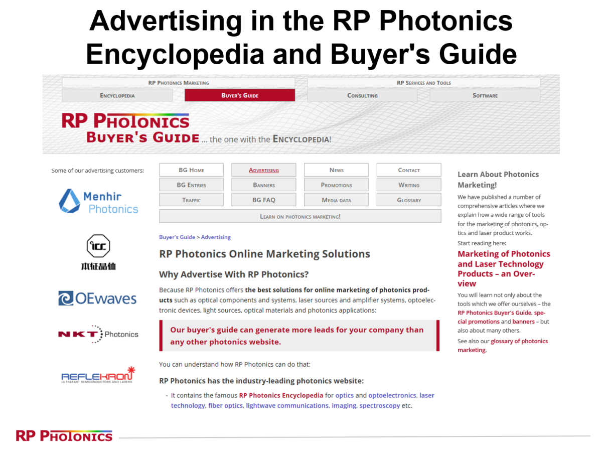 RP Photonics Marketing