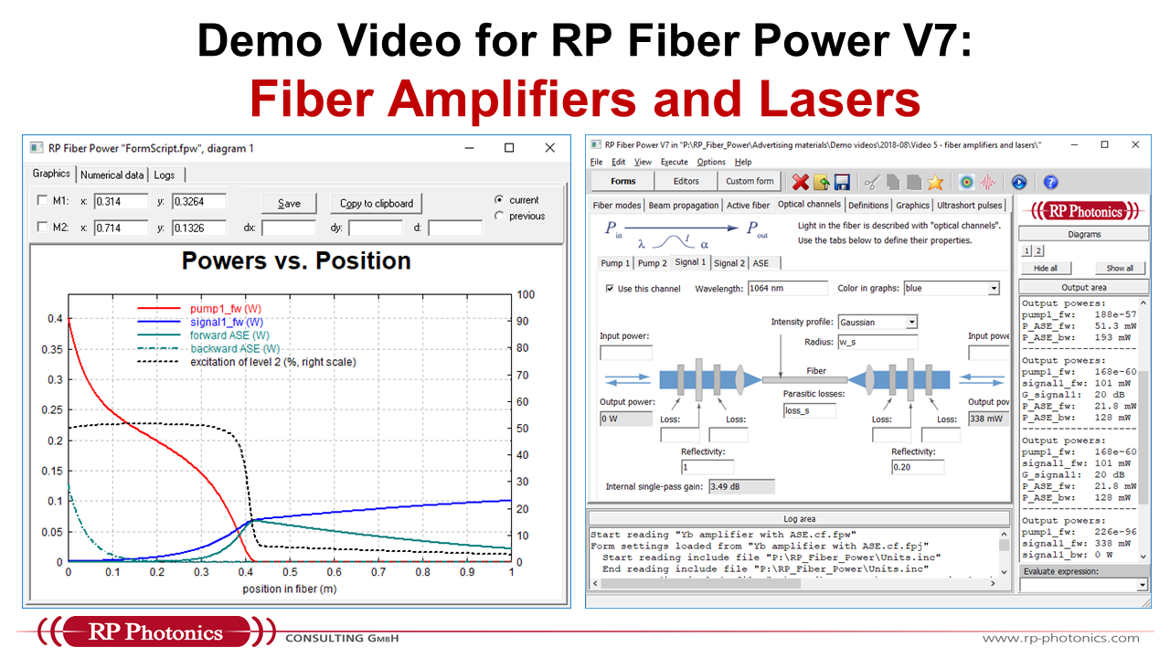 analyzing fiber amplifiers and lasers in RP Fiber Power V7